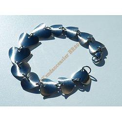 Bracelet Pur Acier Inoxydable Sequins Multi Coeur Torsadé Love Valentine 20 cm