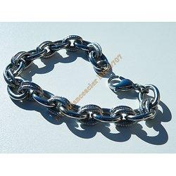 Bracelet Acier Inoxydable Duo Alliance et Double Anneaux Torsadés Wire Mode 21 cm Ajustable