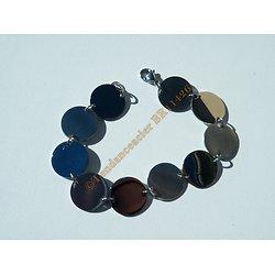 Bracelet 10 Sequins Rond 15 mm Pur Acier Inoxydable Argenté Brillant 19 cm