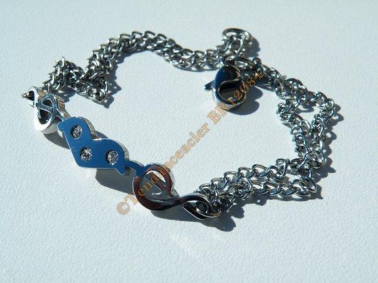 Bracelet Acier Inoxydable Gourmette Fine Coeur Love 3 Zirconia Strass Clé de Sol