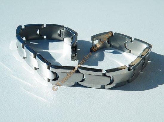 Bracelet Gourmette Pur Acier Inoxydable Duo Maillon Argenté Brillant Brossé 10 mm