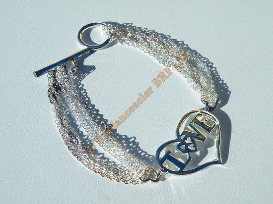 Bracelet Plaqué Argent 925 Love Coeurs Toogle Multi Chaine Fashion 20 cm