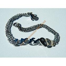 Bracelet Acier Inoxydable Gourmette Fine I Love You Amour 3 Zirconias Strass 19 cm