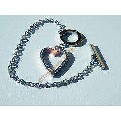 Bracelet Toggle Pur Acier Inoxydable Rond Coeur Love 40 Zirconias Strass 22 cm