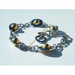 Bracelet Fashion Pur Acier Inoxydable Astéroide Argenté Boules Tournantes Plaqué Or 21 cm