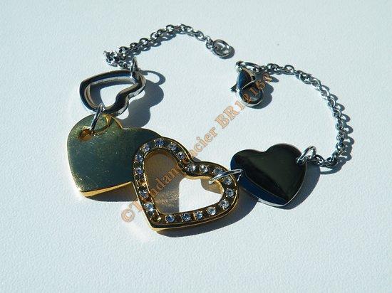 Bracelet Femme 4 Coeurs Acier Inoxydable Plaqué Or 22 Zirconium Strass