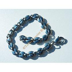 Bracelet 21 cm Pur Acier Inoxydable Maille Grains de Café 8 mm Argenté