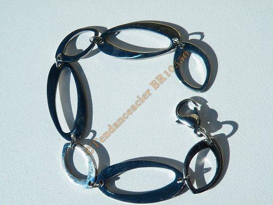 Bracelet Femme Mode Pur Acier Inoxydable 7 Ovales Fins Argenté Brillant 20 cm