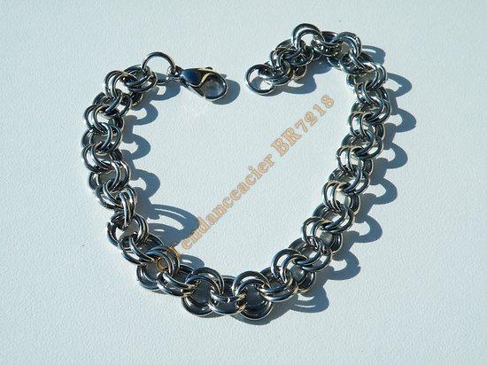 Bracelet Acier Inoxydable Maille Double Anneaux 8 mm Argenté 21 cm Ajustable