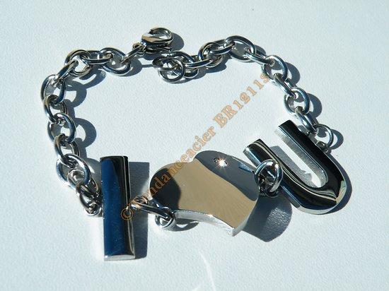 Bracelet Femme Mode Pur Acier Inoxydable I LOVE YOU Motif Coeur et Strass