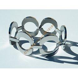 Bracelet Femme 6 Ovales Bombé Argenté Pur Acier Inoxydable Brillant 21 cm