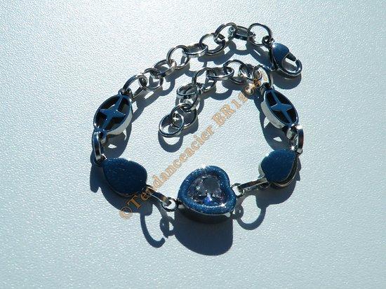 Bracelet Femme Fille Stylé Pur Acier Inoxydable Croix Zirconia Strass Coeur