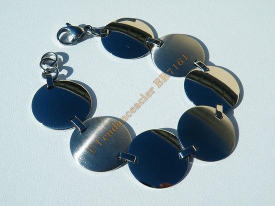 Bracelet Elegant Acier Inoxydable 7 Sequins Palets Rond Argenté Brillant 18 cm