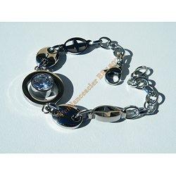Bracelet Acier Inoxydable Argenté Croix et Grain de Café Ovale 1 Zirconia 10 mm