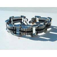 Bracelet Acier Inoxydable et Silicone Noir 9 Rangs Dentelé Homme Tribal Mode