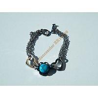 Bracelet Vintage Pur Acier Inoxydable Argenté Double Coeur Pendant Turquoise