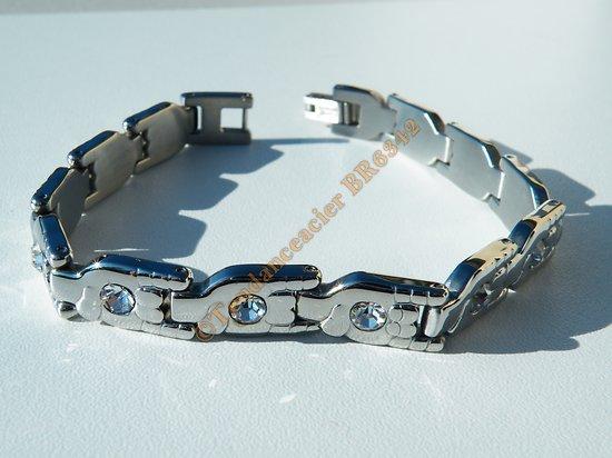 Bracelet Argenté Pur Acier Inoxydable 12 Mains 12 Zirconias Main 2 Doigts Fuck