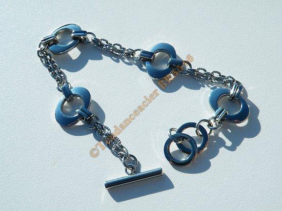 Bracelet Pur Acier Inoxydable Ellipse Ovale Fermoir Toggle 18 20 cm Ajustable