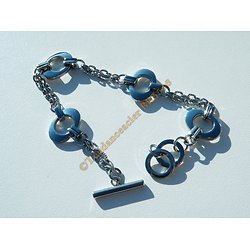 Bracelet Pur Acier Inoxydable Ellipse Ovale Fermoir Toggle 18 20 cm Ajustable