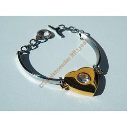 Bracelet Pur Acier Inoxydable Grand Coeur Plaqué Or Enorme Strass 8 mm Valentine