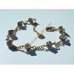Bracelet Femme Pur Acier Inoxydable Plaqué Or 8 Cubes 48 Diamant Zirconias Strass