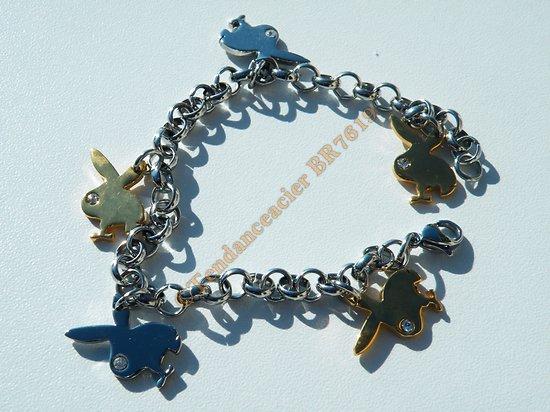 Bracelet Pur Acier Inoxydable 5 Lapins Coquins Playboy Plaqué Or Argenté 5 Zirconia Strass 19 cm