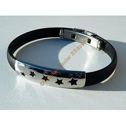 Bracelet Acier Inoxydable Caoutchouc Plaque Découpe 5 Etoiles Galaxie 22 cm