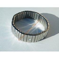 Bracelet Ajustable Extensible Pur Acier Inoxydable Bombé Argenté 9 Strass