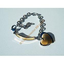 Bracelet Femme Double Coeurs Pur Acier Inoxydable Argenté Plaqué Or 19 cm
