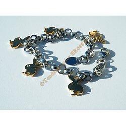 Bracelet Pur Acier Inoxydable 5 Lapins Coquins Playboy Plaqué Or et Zirconia Strass