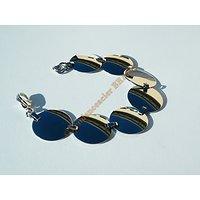 Bracelet 7 Sequins 22 mm Rond Pur Acier Inoxydable Brillant 19 cm