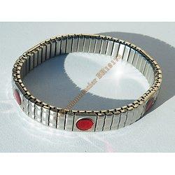 Bracelet Extensible Ajustable Pur Acier Inoxydable 6 Pierres Rouges Grenat