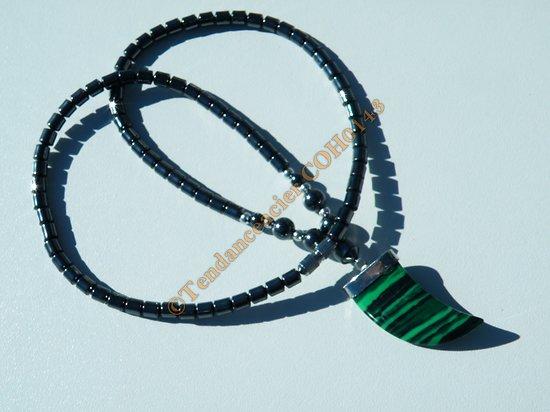 Collier Litothérapie Hématite Pendentif Pointe Corne Malachite Verte
