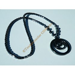 Collier Hématite Pendentif Triple Anneaux Boucle Pur Hématite Minéraux