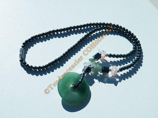 Collier Pur Hématite Donut Aventurine et Quartz Cristal Minéral Semi Précieux