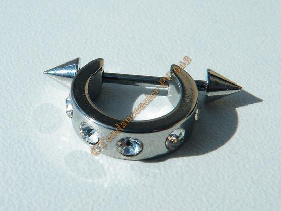Piercing Anneau Acier Inox Titane 5 Zirconias Fleche