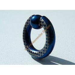 Piercing Captive Acier Titane Bleu Fluo 1,6 cm