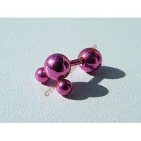 Piercing Acier Inox Titane Atome 4 boules Rose Fushia
