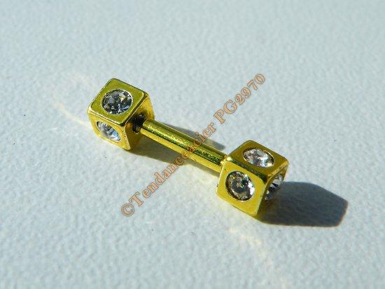 Piercing  Acier Inox Double Cubes 10 Zircons Strass OR