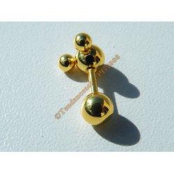 Piercing Acier Titane  Atome 4 boules Or Doré