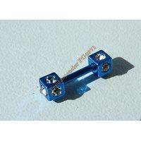 Piercing Acier Double Cube 10 Zircons Strass Bleu Fluo