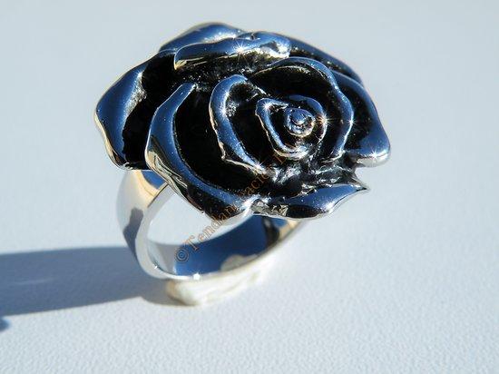 Bague Chevalière Acier Inoxydable Argenté Brillant Fleur Rose 25 mm 3D Féminin