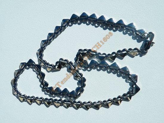 Collier Chaine Maille Multi Coeur Pur Acier Inoxydable Brillant 6 mm