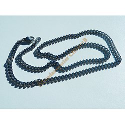 Collier Chaine Maille Gourmette Plate Acier Inoxydable 3,7 mm