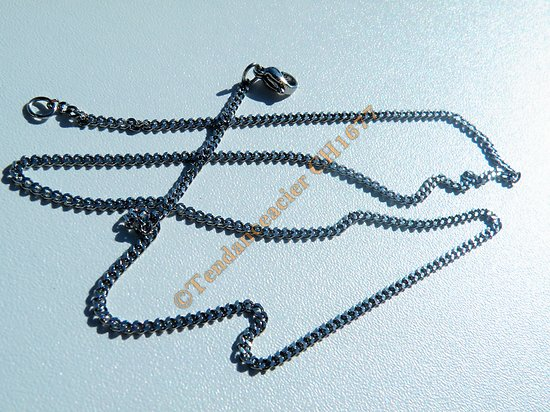 Collier Chaine Maille Gourmette Plate 1,8 mm Acier Inoxydable 53 cm