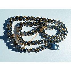 Chaine Longue 62 cm Acier Inoxydable Argenté Plaqué Or Maille Gourmette 8 mm