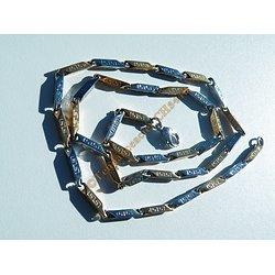 Chaine 56 cm Acier Inoxydable Berlingots Argenté Or Motifs Tribal Celte 3 mm
