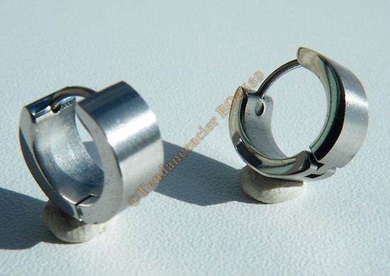 Boucles d'oreilles Créoles Acier Inoxydable Argentée 6 mm Vierge