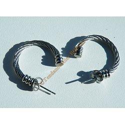 Boucles d'Oreilles Pur Acier Inoxydable Créoles Argentée Wire Barbelés