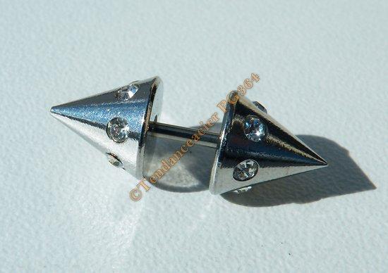Piercing Acier Titane  12 Zircons Strass Pointe Argent